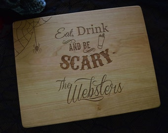 """Halloween Engraved Cutting Board  personalized cutting board 12x9""""x.75""""   Chopping Board   Halloween Wedding Gift"""