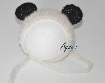 aac5334788e3 nouveau-né panda ours bonnet, bonnet panda ours mohair, bonnet panda, tuque  panda, prop photo bonnet nouveau-né