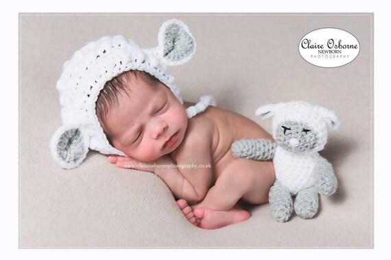 Newborn lamb bonnet newborn sheep bonnet newborn lamb teddy  bf32f6c92d85