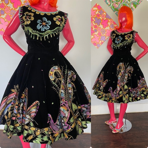 1950s Mexican Hand Painted Circle Skirt Set Black