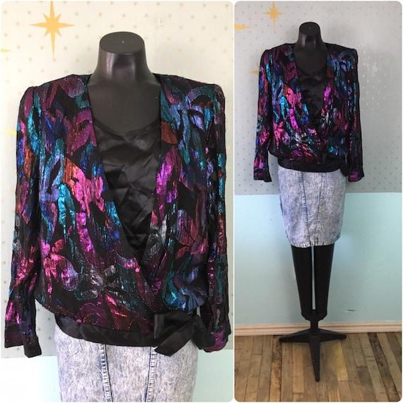 Vintage 80s metallic lurex evening blouse 1980s gl