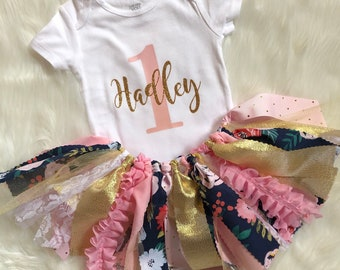 32823db16 First Birthday Outfit Girls // Little Girl First Birthday Outfit // Floral First  Birthday Outfit // Personalized First Birthday Outfit Girl