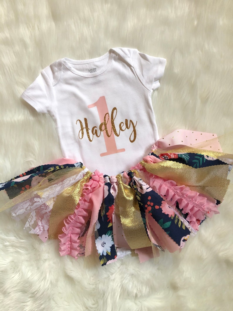 First Birthday Outfit Girls  Little Girl First Birthday Outfit  Floral First Birthday Outfit  Personalized First Birthday Outfit Girl