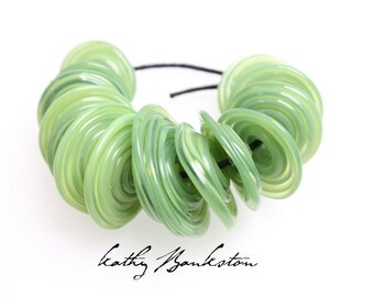 Green Disc Beads, Green Lampwork Beads, Green Disk Beads, Green Saucer Beads, Pale Green Beads, Kathys Bead Shop, Green Lampwork