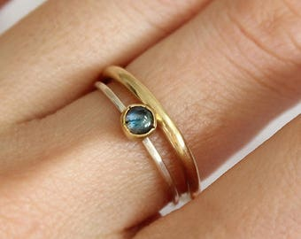 Labradorite silver ring / Stacking rings / Set of 2 rings/ Hammered texture / Sterling silver 925 and brass