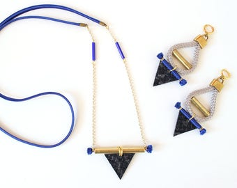 Triangle necklace / Blue necklace/Tribal necklace/Gift fot her/