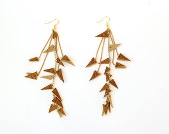 Triangle gold earrings/Cluster leather earrings/Gold dangle earrings/Long earrings/Sparkly earrings/Gift fot her/Valentines gift