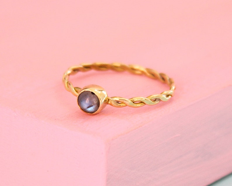 Labradorite Ring Wife Mothers Day Gift Birthstone Ring Brass Ring Gemstone Ring Minimalist Jewelry Women Golden Ring Twisted Ring