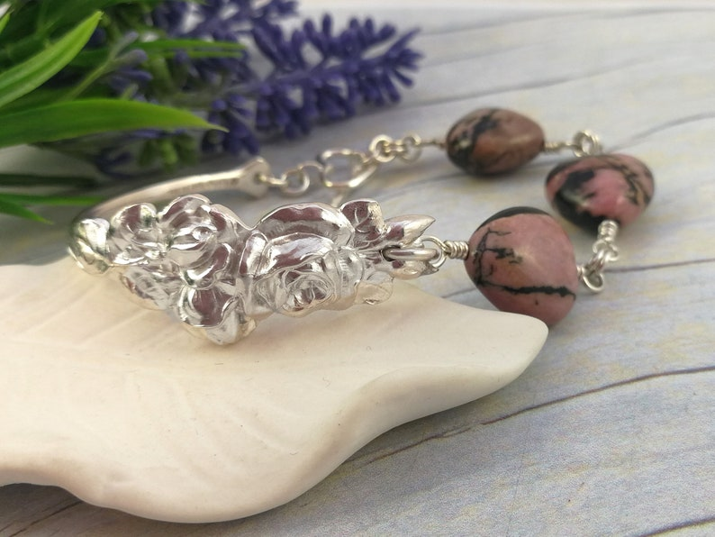 Upcycled Sterling Silverware Jewelry with Heart Shaped Australian Gemstones. Rhodonite Bracelet Rose Spoon Bracelets for Women