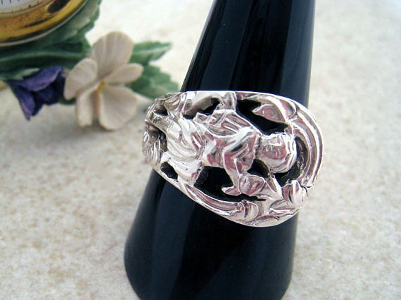 3052be3a46ab0 Victorian SPOON RING Sterling silver Cupid ring, Antique Mens ring. Silver  Spoon jewelry (London 1874). Custom size.
