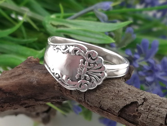 5th Anniversary gift for her Sterling silver SPOON RING Wrap around Silver Bypass ring Silverware jewelry Custom size.