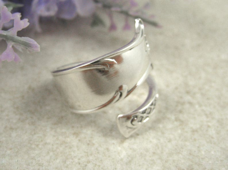 Custom size. Silverware jewelry as 5th anniversary gift Bypass Wrap around ring Sterling Silver SPOON RING