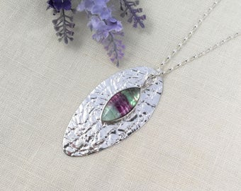 Large OVAL SPOON PENDANT Sterling Silver, textured silver, pendant, upcycled from vintage spoon, with marquise fluorite gemstone. With chain