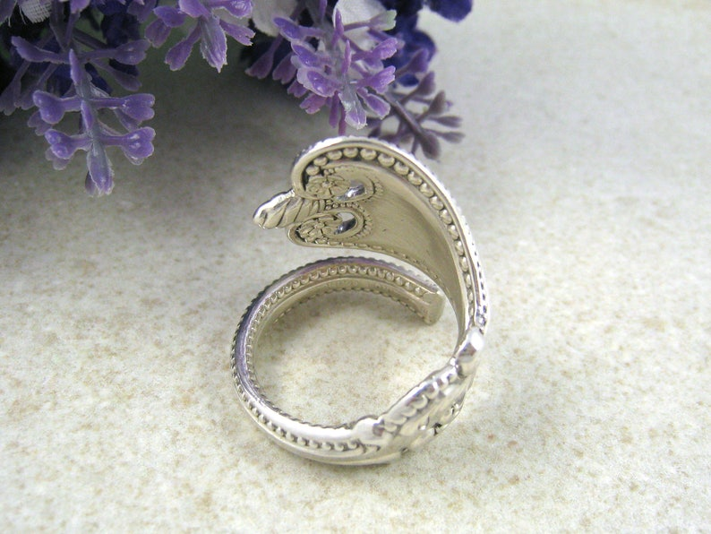 . Antique mens ring Art Nouveau Bypass Wrap around ring SPOON RING Sterling silver Upcycled Silverware jewelry large Custom size