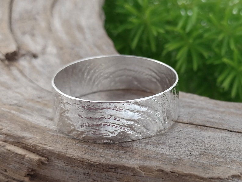 Large sized band ring 5th anniversary gift for him Size 11 12. Sterling silver Thumb rings for women or men Upcycled Silverware jewelry