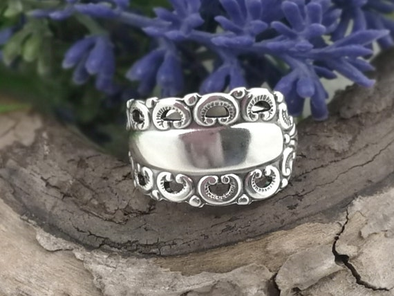 finger rings Shield ring statement ring Mothers day gift upcycle vintage spoon silver ring forefinger ring spoon ring