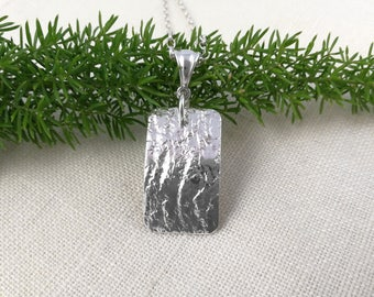 TEXTURED OBLONG PENDANT Sterling Silver, textured silver, rectangular spoon pendant, up-cycled from vintage butter knife, optional chain.