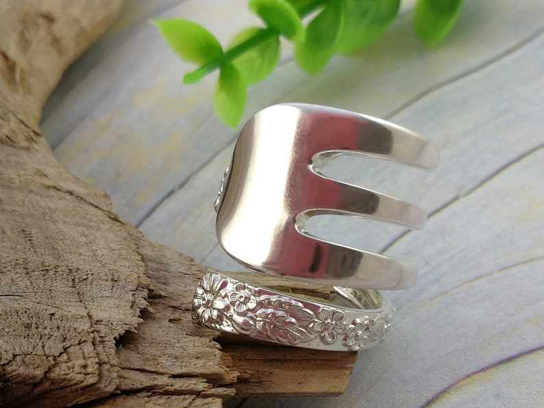 FORK RING Custom size. Floral  Spiral   Bypass Thumb Rings for Women Upcycled 1930s Vintage Fork Sterling Silverware Jewelry