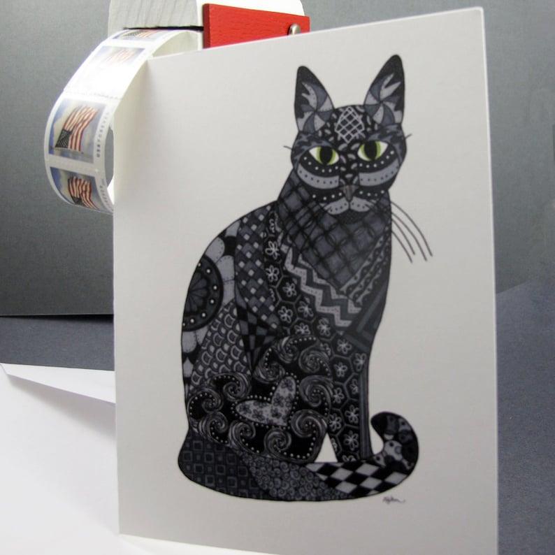Black Cat Halloween notecards Set of 8 Blank Inside Card Set Black Cat Stationery Set