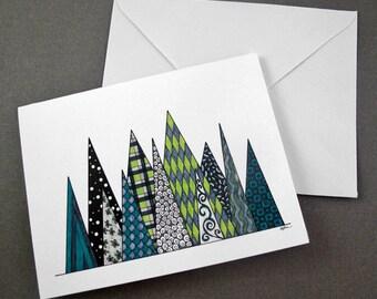 Pine Trees Stationery Set - Set of 8 Blank Inside Card Set