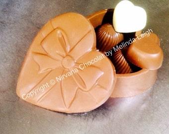 Milk chocolate heart box