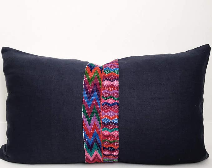Linen and Guatemalan Pillow Cover, Ethnic, Handwoven, Indigo, Navy Blue, Boho Pillow