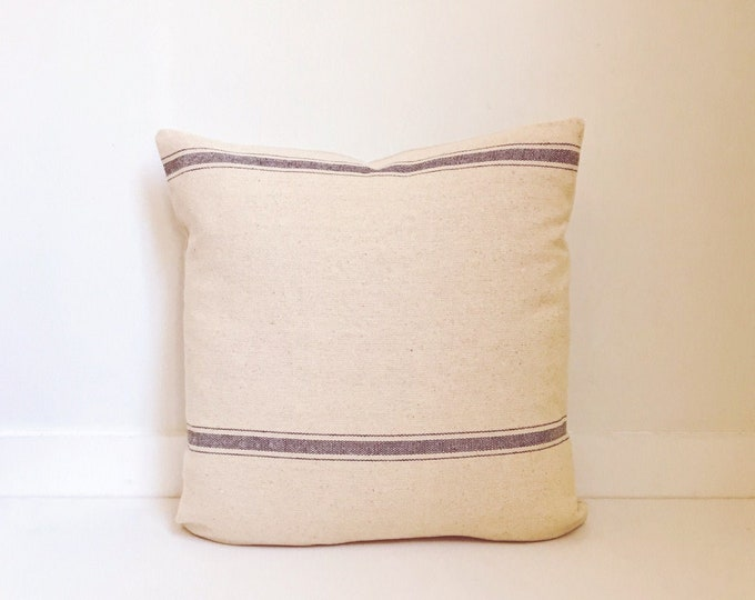 Boho Pillow, Grain Sack Pillow Cover, Authentic Pillow, Texture, Vintage, Throw Pillow, Decorative Pillows, Bohemian, Ticking fabric