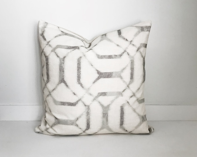 Grey and White Shibori Pillow, Modern Farmhouse, Lumbar, Designer, Boho Pillow