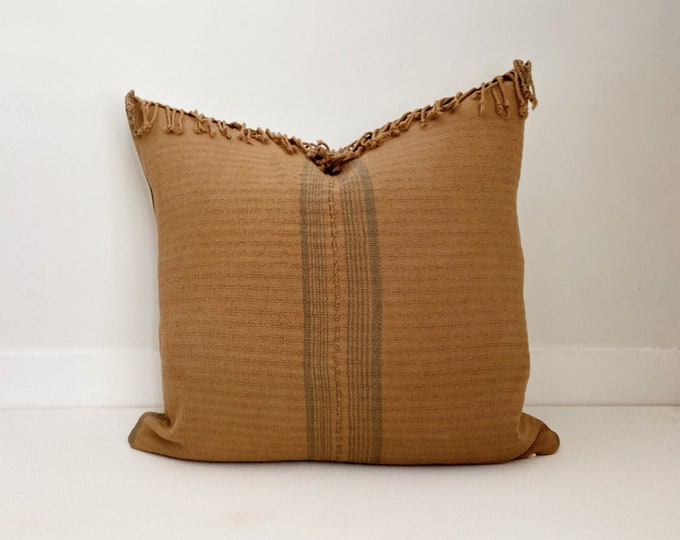 Striped Hmong Pillow Cover with fringe, Cotton, Modern Farmhouse, Boho