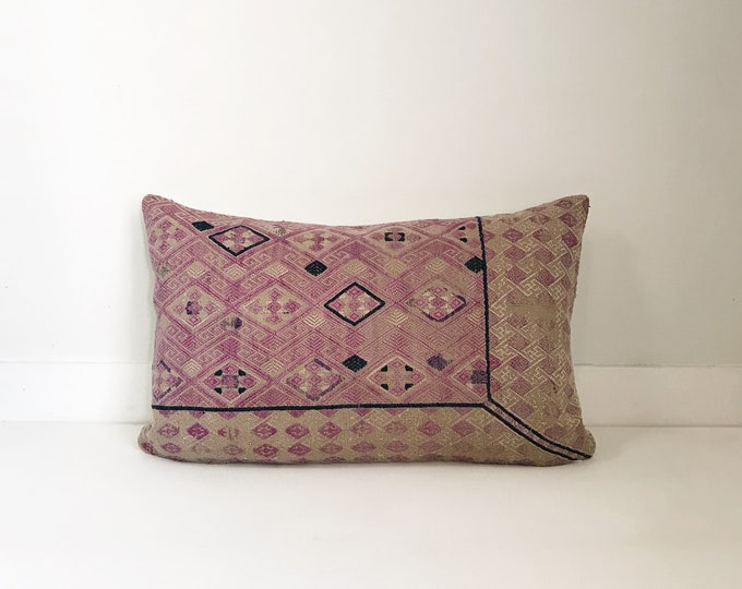 Boho Pillow, Chinese Wedding Pillow, Lumbar Pillow, Embroidered Pillow, Chinese, Decorative Pillow, Pillow Covers, Boho, Asian Pillow