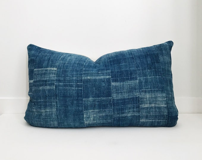 Indigo Boho Pillow, Cover, Ethnic, Vintage, Blue, Lumbar, Boho Pillow