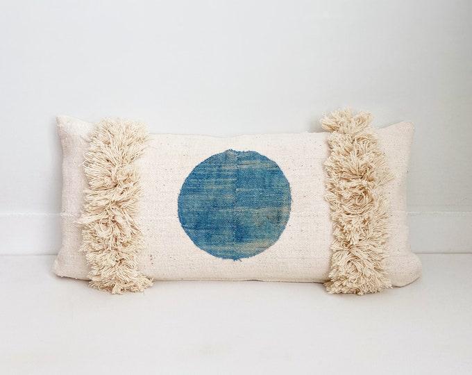 African Mudcloth Fringe Pillow Cover, Boho Pillow, Lumbar