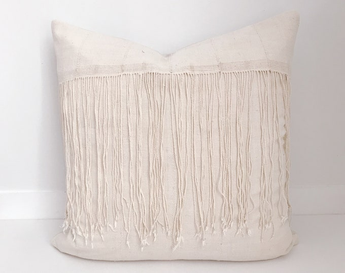 Mudcloth Pillow, African Mudcloth Pillow, Fringed Pillow, Natural Mudcloth, Mud Cloth Pillow, Boho Pillow, Pillow Covers, Ivory, Neutral
