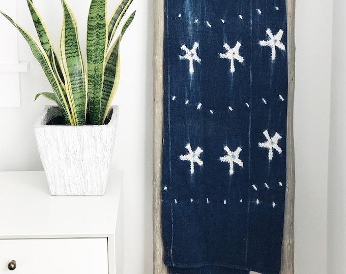 Throw Blanket, Ethnic, African, Handwoven, Mudcloth, Vintage, Indigo, Blue