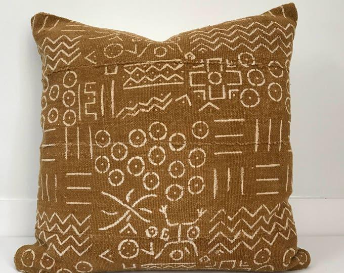 Mudcloth Pillow, African Mudcloth Pillow, Mustard Mudcloth, Mud Cloth Pillow, Boho Pillow, Vintage Boho Pillow, Pillow Covers