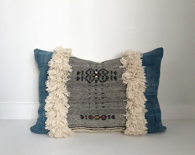 Boho Pillow, Wool Pillow Cover, African Fulani Pillow, Vintage, Lumbar Pillow, Pillow Covers, Throw Pillow, Cotton Fringe