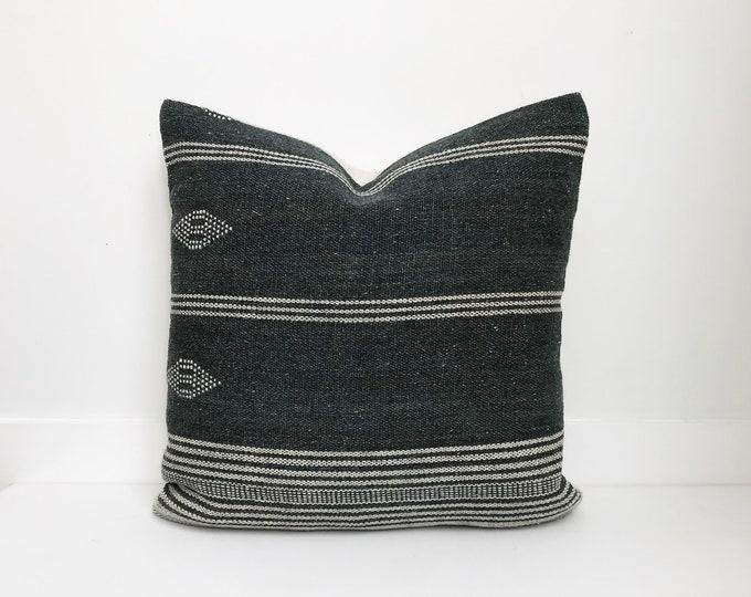 Boho Pillow, Wool Pillow, Neutral Pillow, Gray, India, Decorative Pillow, Pillow Covers, Striped Pillow, Boho Chic, Home Decor