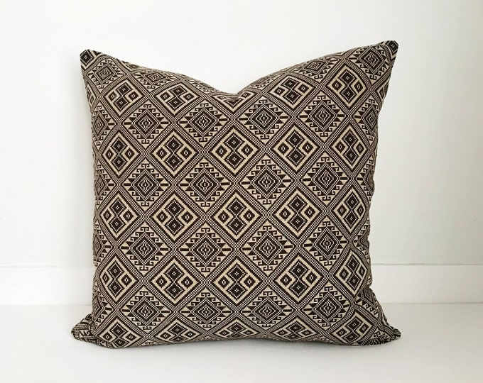 Boho Pillow, Asian Pillow, Neutral Pillow, Vintage, Pillow Covers, Decorative Pillow, Brown and Tan Pillow, Boho Chic