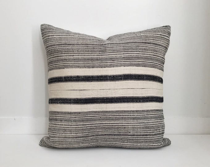 Boho Pillow Cover, Hmong, Vintage, Ethnic, Handwoven, Hemp, Striped, Dark Indigo and Cream, Neutral