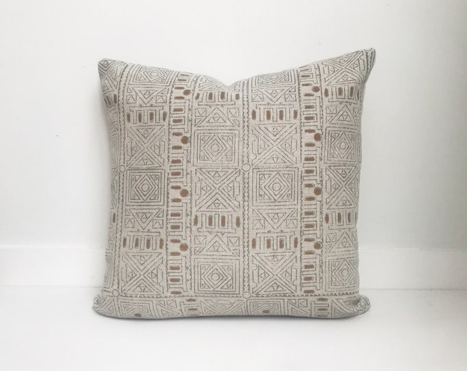 Boho Pillow, DeDesigner, Tan Pillow, Belgium Linen, Tribal, Mudcloth, Pillow Covers, Throw Pillow, Decorative Pillows, Bohemian