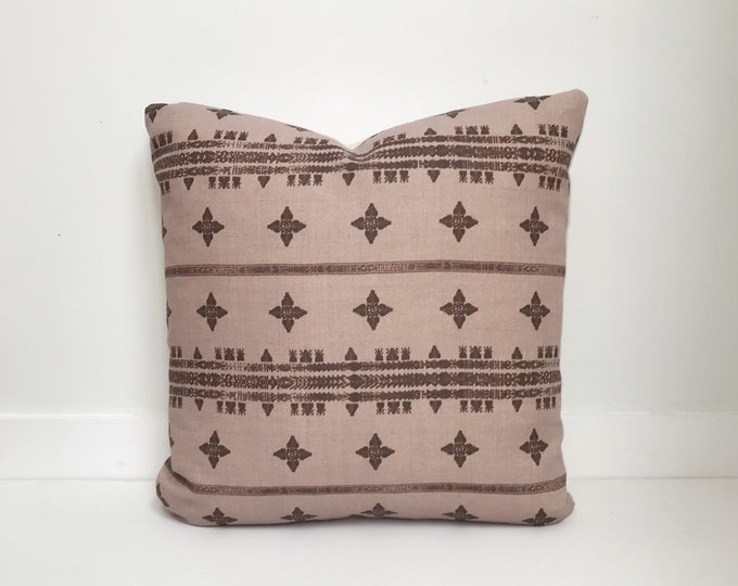 Boho Pillow, Designer, Blush Pillow, Belgium Linen, Mudcloth, Pillow Covers, Throw Pillow, Decorative Pillows, Bohemian