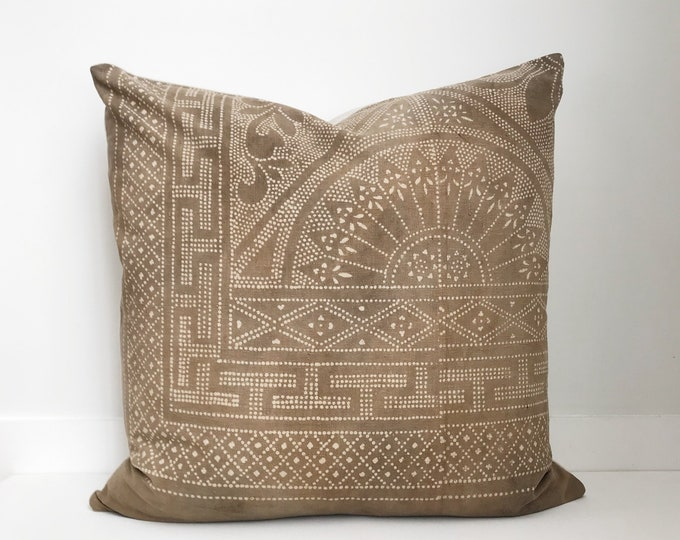 Chinese Batik Pillow Cover Vintage, Textile, Ethnic, Handwoven, Khaki, Batik, Vintage Pillow, Boho Pillow, One of a Kind Pillow