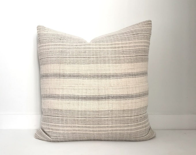 Boho Pillow Cover, Hmong, Vintage, Ethnic, Handwoven, Hemp, Striped, Grey, Cream, Neutral