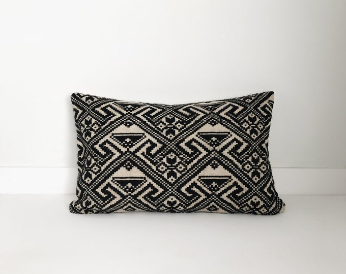 Boho Pillow, Black and White Pillow, Lumbar Pillow, Vintage Pillow, Decorative Pillow, Pillow Covers, Asian, Handwoven, Boho Chic