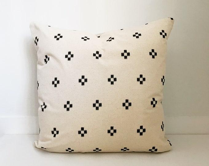 Cotton Block Print Pillow Cover, Cream and Black