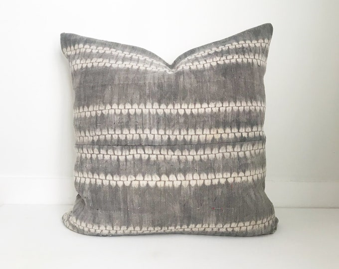 Batik Pillow Cover Vintage, Textile, Ethnic, Handwoven, Gray, White, Batik