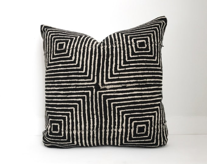 Authentic Mudcloth Pillow Cover, Black and Tan
