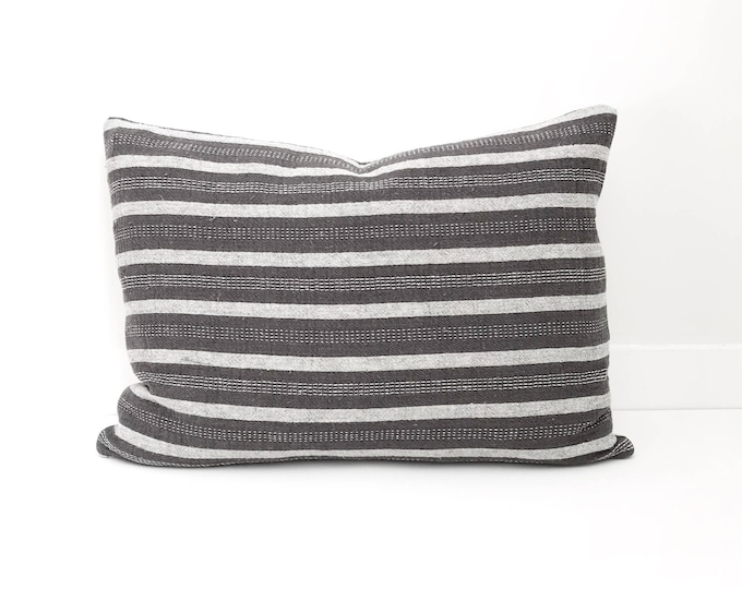 Grey and White Striped Pillow Cover, Lumbar, Boho Pillow