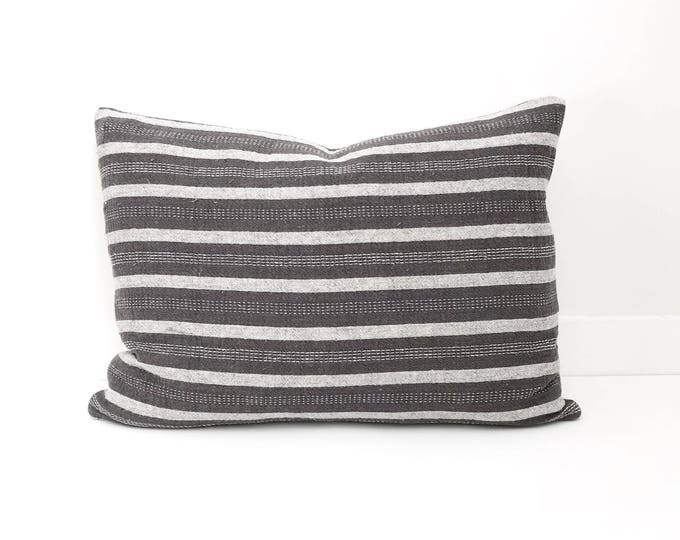 Boho Pillow, Grey and White Pillow, Striped Pillow, Designer, Handwoven, Pillow Covers, Throw Pillow, Decorative Pillows, Texture