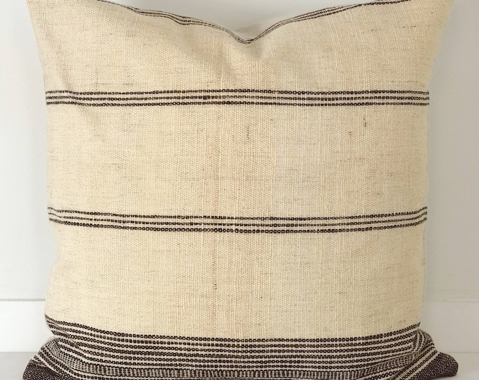Boho Pillow, Wool Pillow, Neutral Pillow, Cream, India, Decorative Pillow, Pillow Covers, Striped Pillow, Boho Chic, Home Decor